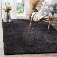 Safavieh Handmade Sheep Shag Charcoal Polyester Rug (8' x 10') - 8' x 10'
