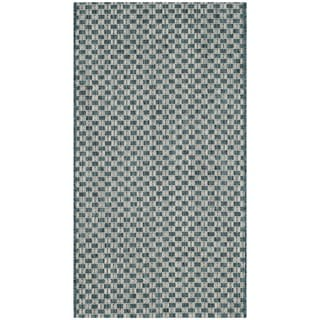 Safavieh Indoor / Outdoor Courtyard Turquoise / Light Grey Rug (2' x 4')