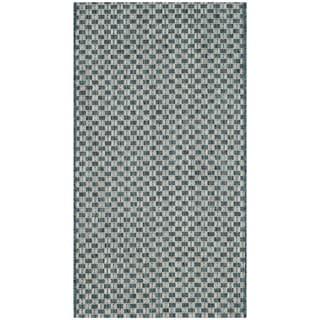 Safavieh Indoor / Outdoor Courtyard Turquoise / Light Grey Rug (2' x 4')