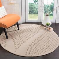 Safavieh Handmade Bella Abstract Sand / Brown Wool Rug (5' Round)