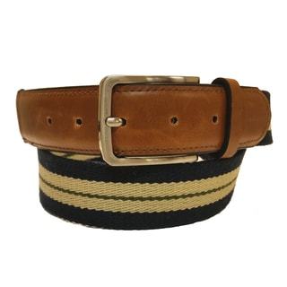 Men's Striped Canvas and Leather Casual Belt