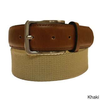 Men's Casual Black or Khaki Canvas and Leather Belt (Option: Khaki - XL (37 - 40) Inches)