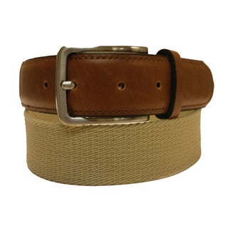 Men's Casual Black or Khaki Canvas and Leather Belt