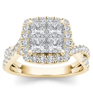 De Couer 14k Yellow Gold 2ct TDW Diamond Twist Shank Halo Ring (H-I, I2)