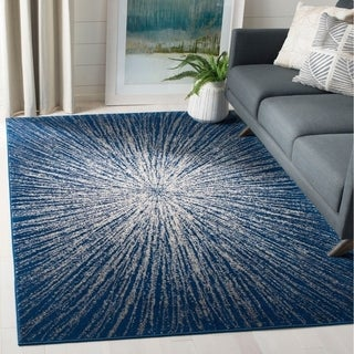 Safavieh Evoke Vintage Abstract Burst Royal Blue/ Ivory Distressed Rug (3u0027  Round)