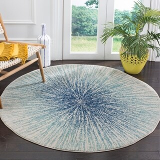 Safavieh Evoke Vintage Abstract Burst Royal Blue/ Ivory Distressed Rug (5' 1 Round)
