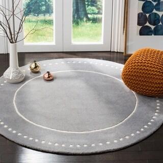 Safavieh Handmade Bella Silver / Ivory Wool Rug (5' Round)