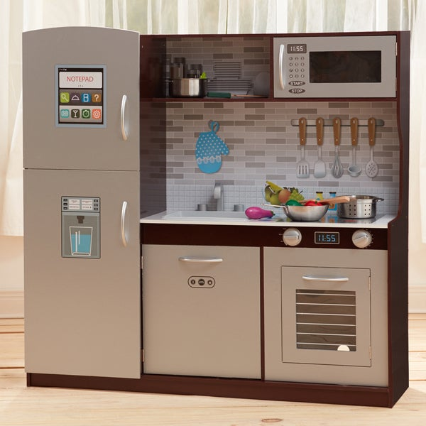 teamson kids uptown espresso play kitchen free shipping today 19683588. Black Bedroom Furniture Sets. Home Design Ideas