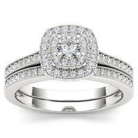 De Couer 14k White Gold 1/2ct TDW Diamond Double Halo Bridal Ring Set