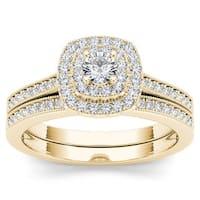 De Couer 14k Yellow Gold 1/2ct TDW Diamond Double Halo Bridal Ring Set