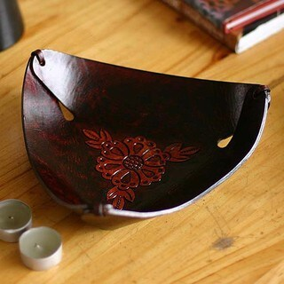 Handmade Leather 'Sunflower Charm' Catch All Bowl (Peru)