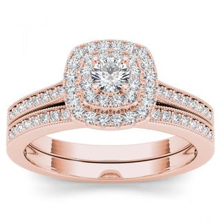 De Couer 14k Rose Gold 1/2ct TDW Diamond Double Halo Bridal Ring Set - Pink