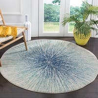 "Safavieh Evoke Abstract Burst Royal Blue/ Ivory Distressed Rug - 6'7"" x 6'7"" round"