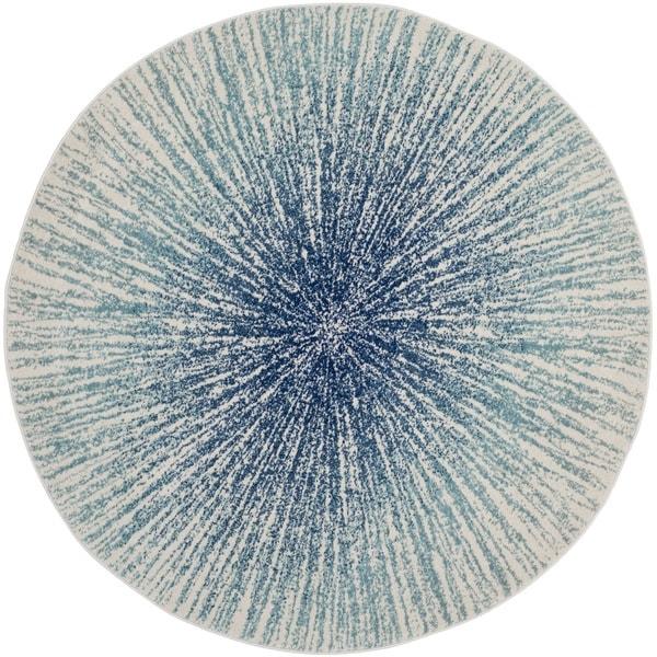 Safavieh Evoke Vintage Abstract Burst Royal Blue/ Ivory Distressed Rug (6' 7 Round)
