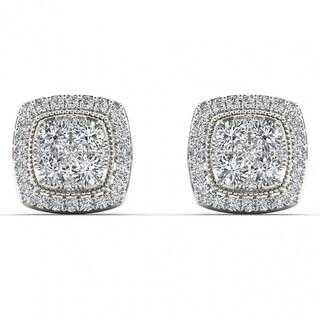 Link to De Couer 14k White Gold 1/2ct TDW Diamond Halo Cluster Earrings - White H-I Similar Items in Earrings