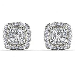 De Couer 14k White Gold 1/2ct TDW Diamond Halo Cluster Earrings (H-I, I2)