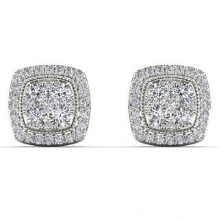 De Couer 14k White Gold 1/2ct TDW Diamond Halo Cluster Earrings - White H-I