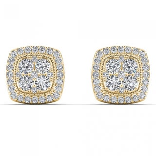 De Couer 14k Yellow Gold 1/2ct TDW Diamond Halo Cluster Earrings