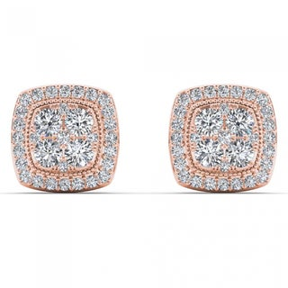 De Couer 14k Rose Gold 1/2ct TDW Diamond Halo Cluster Earrings - Pink