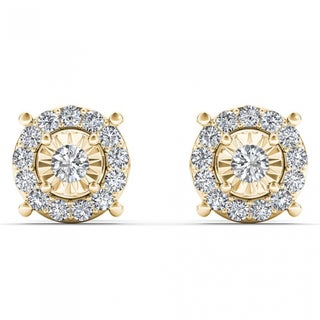 De Couer 10k Yellow Gold 1/4ct TDW Diamond Stud Earrings (H-I, I2)