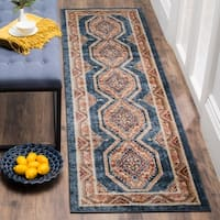 Safavieh Bijar Traditional Oriental Royal Blue/ Rust Distressed Rug - 2' 3 x 8'