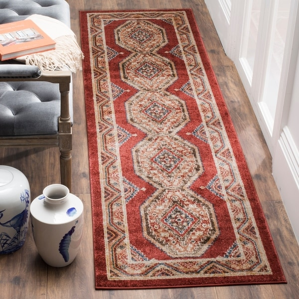 Safavieh Bijar Traditional Oriental Red/ Rust Distressed Rug - 2'3 x 8'