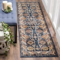 Safavieh Bijar Traditional Oriental Royal Blue/ Ivory Distressed Rug - 2'3 x 8'