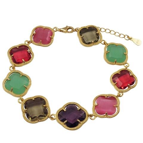 Luxiro Gold Finish Sterling Silver Multi-color Sliced Glass Clover Bracelet
