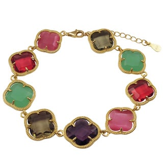 Luxiro Gold Finish Sterling Silver Multi-color Sliced Glass Clover Bracelet