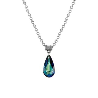 Handmade Jewelry by Dawn Bermuda Blue Crystal Teardrop Stainless Steel Chain Necklace (USA)