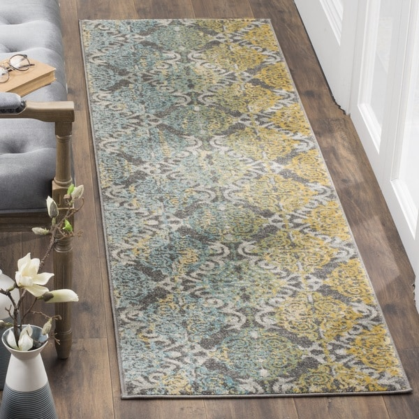 Safavieh Evoke Vintage Watercolor Damask Grey / Ivory Distressed Rug (2' 2 x 11')