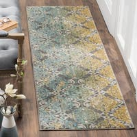 Safavieh Evoke Vintage Watercolor Damask Grey / Ivory Distressed Rug (2' 2 x 7')