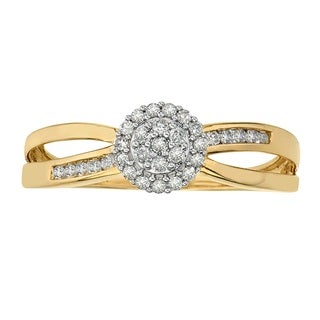 10K Yellow Gold 1/5ct TDW Diamond Ring by Ever One