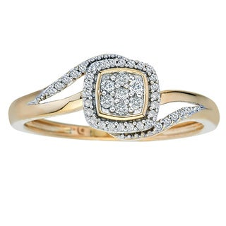 10k Yellow Gold 1/5ct TDW Diamond Engagement Ring (H-I, I1-I2) by Ever One