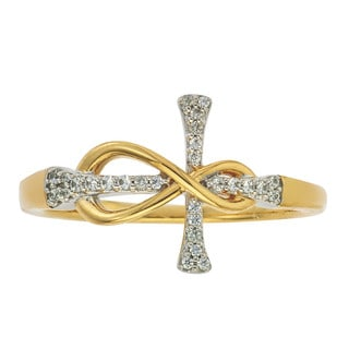 10k Yellow Gold 1/10ct TDW Diamond Infinity Cross Ring