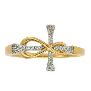 10k Yellow Gold 1/10ct TDW Diamond Infinity Cross Ring by Ever One