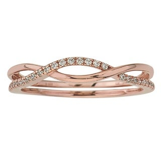 10K Rose Gold 1/10ct TDW Diamond Stackable Ring by Ever One