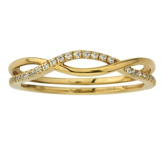10k Yellow Gold 1/10ct TDW Diamond Stack Ring by Ever One