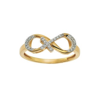 10k Yellow Gold 1/10ct TDW Diamond Infinity Cross Ring (H-I, I1-I2) by Ever One