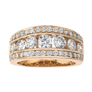 14k Yellow Gold 2ct TDW Diamond Wedding Band by Ever One