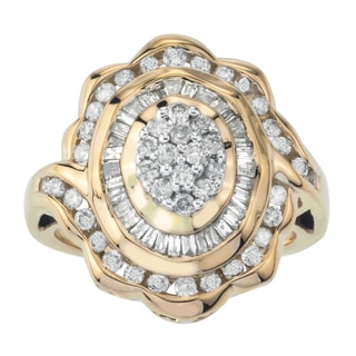 10k Two-tone Gold 1ct TDW Diamond Turtle Cocktail Ring by Ever One