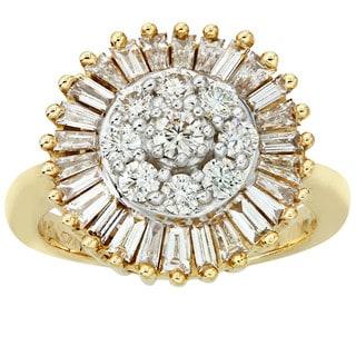 14k Yellow Gold 1 1/2ct TDW Diamond Cocktail Cluster Ring (I-J, I1-I2)