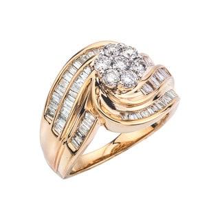 14k Yellow Gold 1ct TDW Diamond Flower Cluster Ring (H-I, I1-I2)