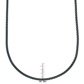 Stainless Steel 24-inch 3.5mm Rolo Black Chain Necklace by Ever One