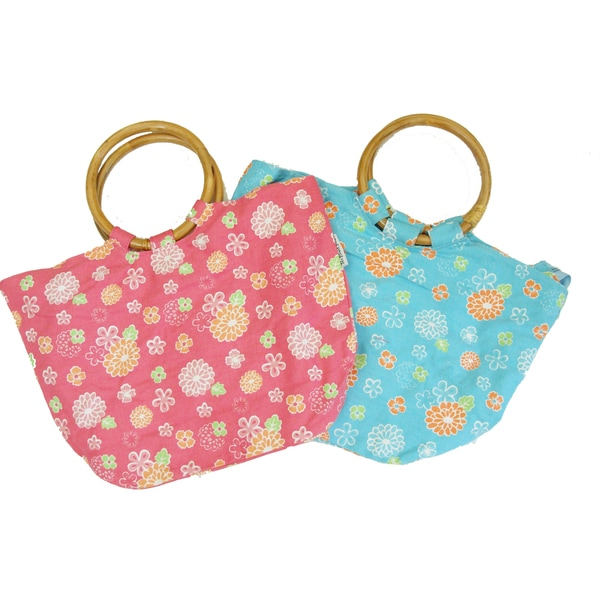 The Plaid Purse Hawaiian Flowers Wood-handled Bags
