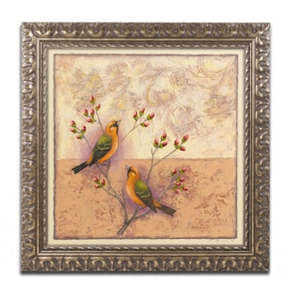 Rachel Paxton 'Two Orange Birds' Ornate Framed Art