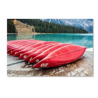 Pierre Leclerc 'Red Canoes of Emerald Lake' Canvas Art