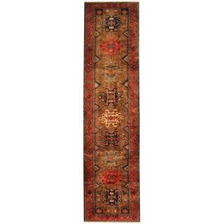 Herat Oriental Persian Hand-knotted Tribal Hamadan Wool Runner (3'2 x 12'8)
