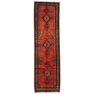 Herat Oriental Persian Hand-knotted Tribal Hamadan Wool Runner (3'6 x 12'4)