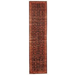 Herat Oriental Persian Hand-knotted Tribal Hamadan Wool Runner (3'2 x 13')